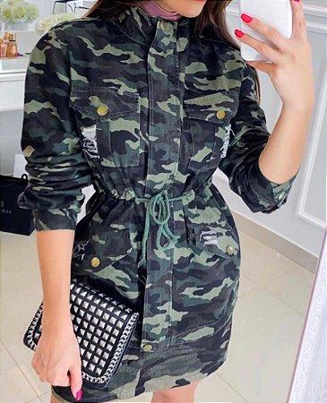 Jaqueta Longa Sarja Militar