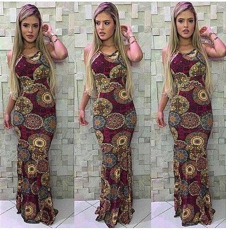 Vestido Longo Sereia Mandalas