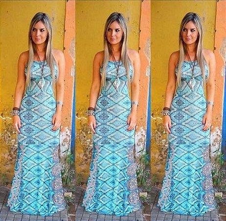 Vestido Longo Sereia Azul Água