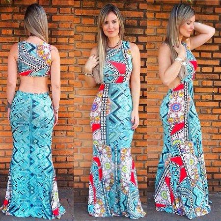 Vestido Sereia Verde c/ Recortes nas Costas