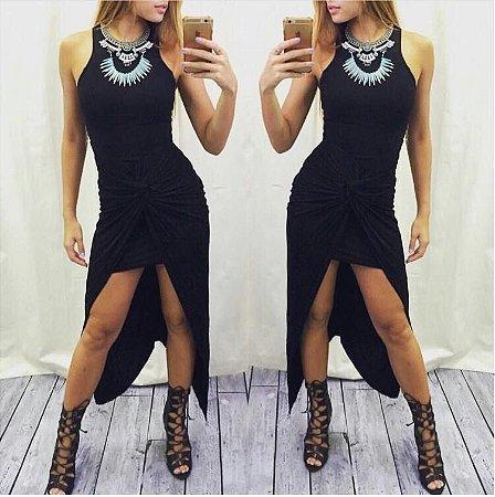 Vestido Assimétrico Preto