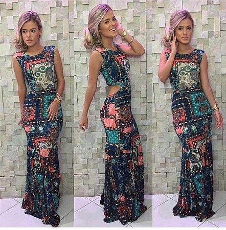 Vestido Longo Sereia Mosaicos