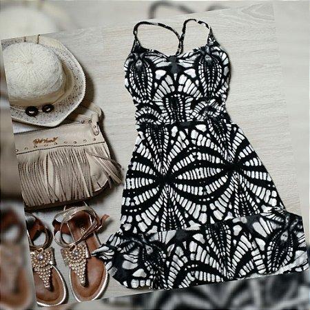 Vestido Curto Preto Degradê C/ Bojo