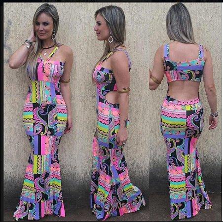 Vestido Estampa Abstrata Neon