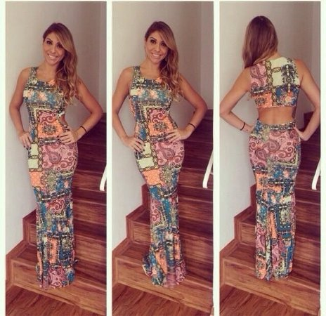 Vestido Longo Mosaicos e Recortes