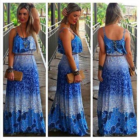 Vestido Longo Azul Degrade