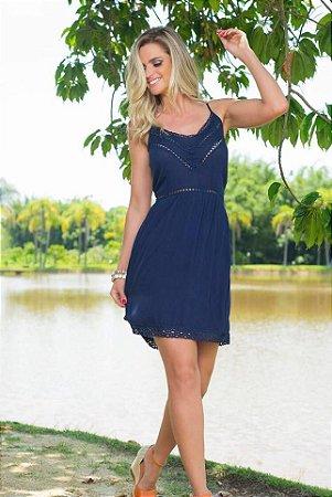 Vestido Azul Marinho Barrado Guiper