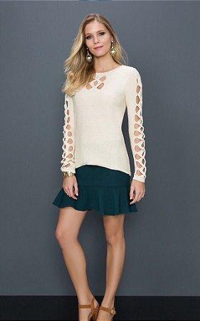 Suéter de Tricot com Recortes Vazados
