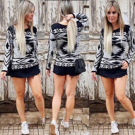 Suéter de Tricot Étnico