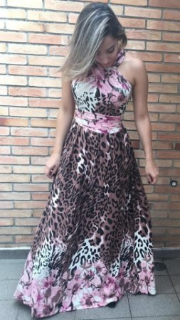Vestido Longo 3 em 1 Onça Rosa