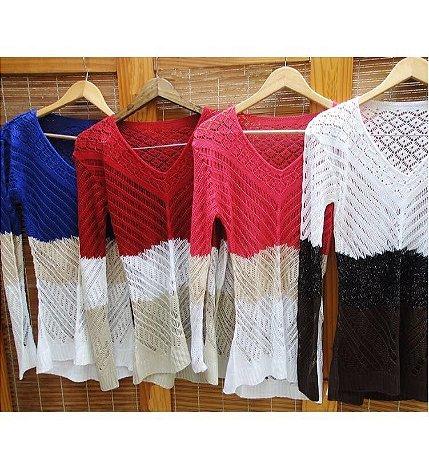 Suéter Tricot Fios Metalizados