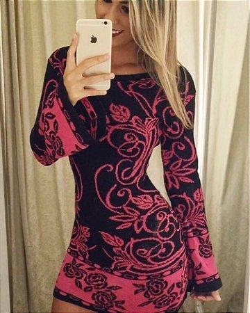 Vestido de Tricot Floral