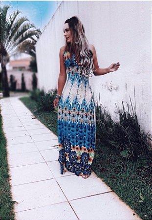 Vestido Longo Blue Pavão
