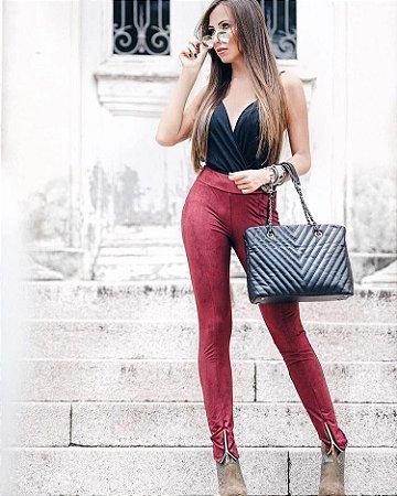 Calça Skinny De Suede Vermelha