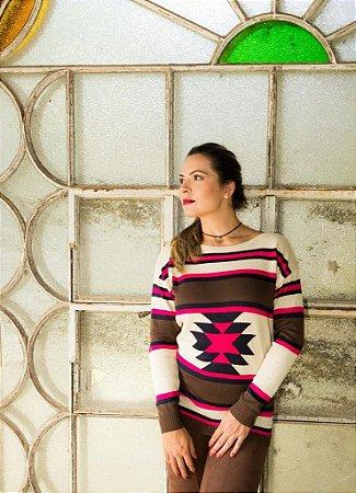 Suéter de Tricot Estampado