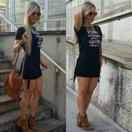 Vestido Franjas Laterais