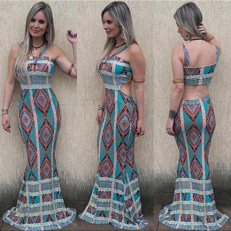Vestido Longo Sereia - Recorte Costas Estampa Arabesco