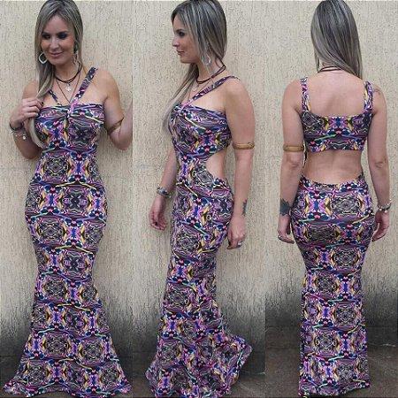 Vestido Longo Sereia - Recorte Costas Roxo