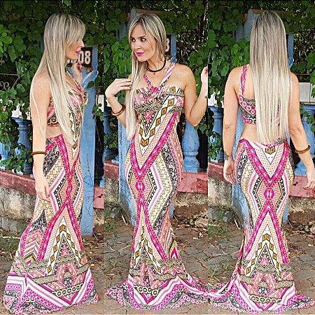 Vestido Longo Sereia Árabe Rosa- Recorte Costas