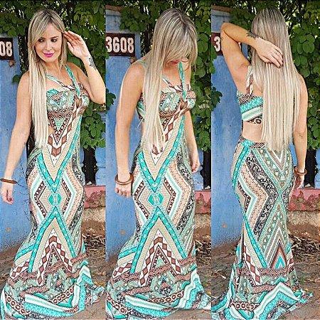 Vestido Longo Sereia Árabe Verde - Recorte Costas