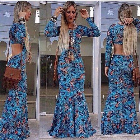 Vestido Longo Sereia Estampado