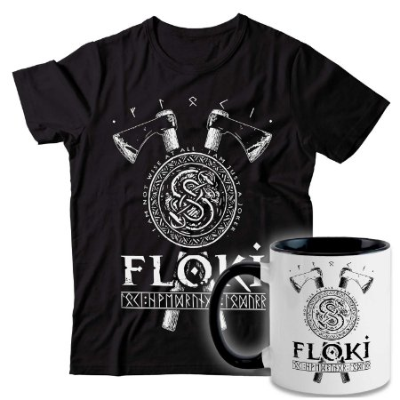 Kit Camiseta + Caneca Vikings - Floki