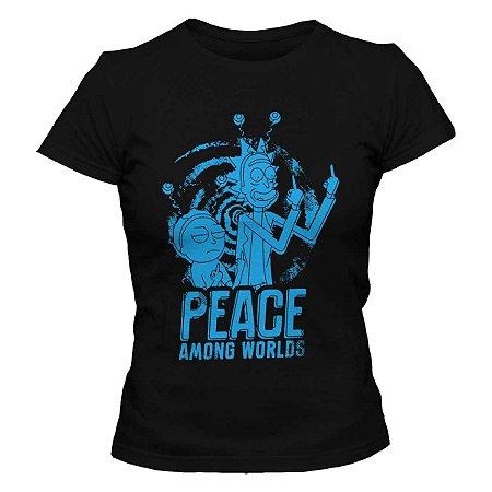 Camiseta Feminina Rick and Morty - Peace Among Worlds