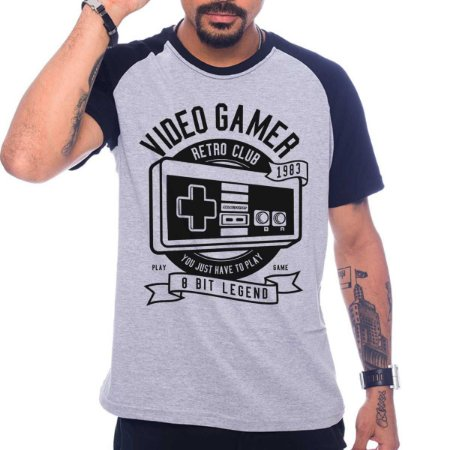 Camiseta Raglan Video Gamer Retro Club