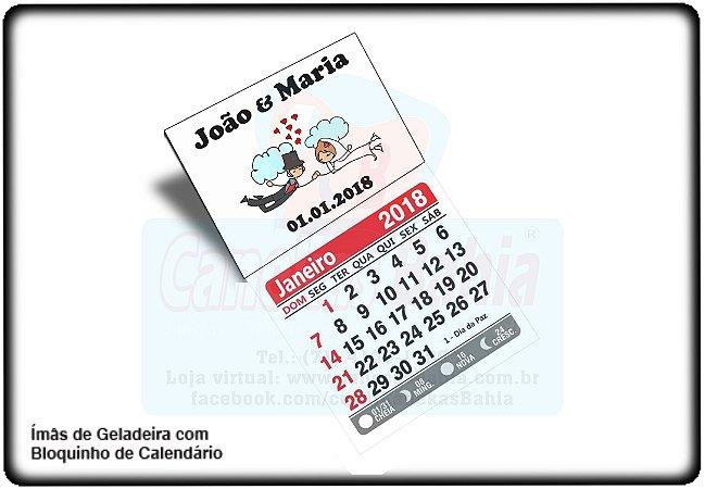 Imã Geladeira Personalizado c/ Calendário 2018 - 112pçs