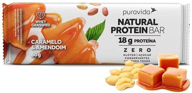 Puravida Natural Protein Bar - Barrinha de Proteína Caramelo e Amendoim 60g