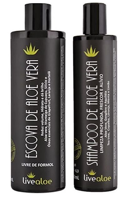 Livealoe Kit Escova de Aloe Vera Sem Formol - Shampoo + Escova
