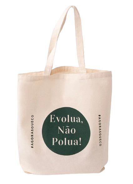 Agora Sou ECO Sacola Ecobag Média 100% Algodão Reciclado 1un