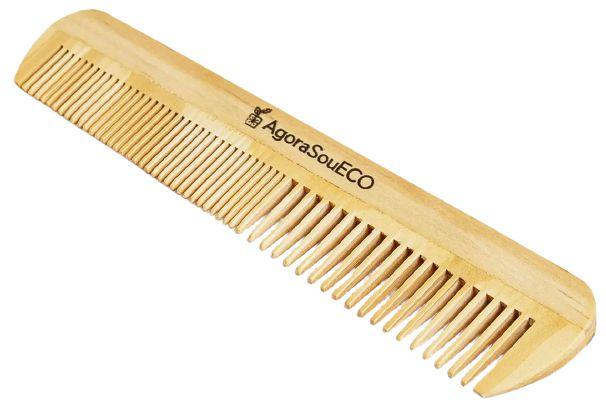 Agora Sou ECO Pente Retangular de Madeira Para Cabelo Dentes Médios 1un