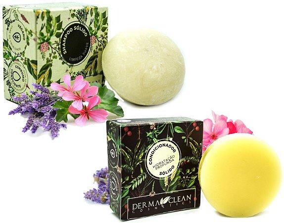 Derma Clean Kit Shampoo Sólido Limpeza Suave + Condicionador em Barra Hidratação Profunda