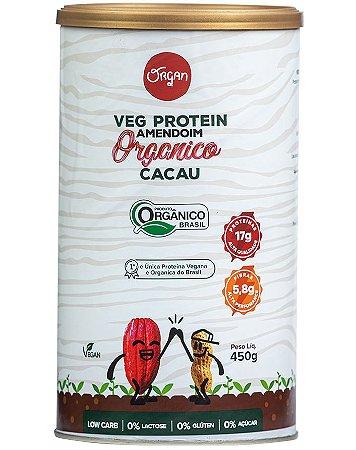 Organ Veg Protein Amendoim Orgânico - Proteínas Vegetais Sabor Cacau 450g
