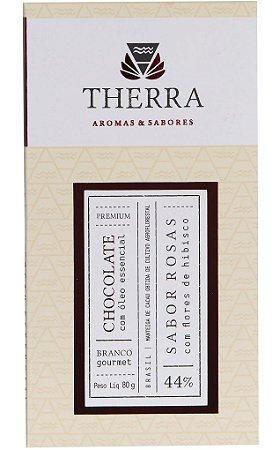 Therra Chocolate Branco Gourmet 44% Sabor Rosas com Flores de Hibisco 80g