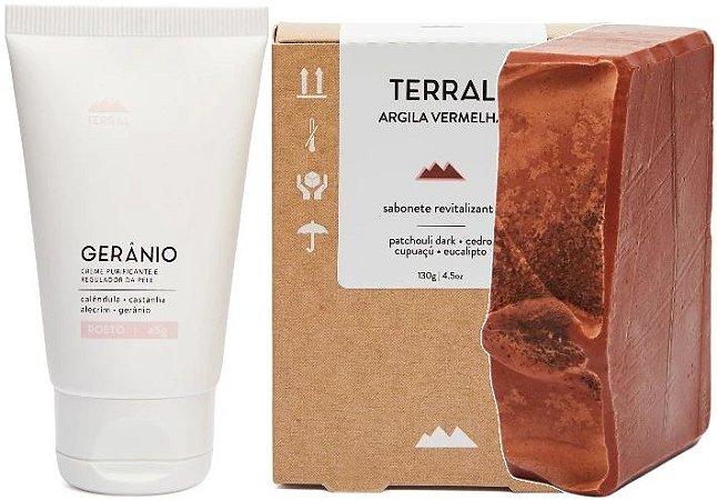 Terral Natural Kit Pele Mista - Creme Facial Gerânio + Sabonete Argila Vermelha e Patchouli Dark