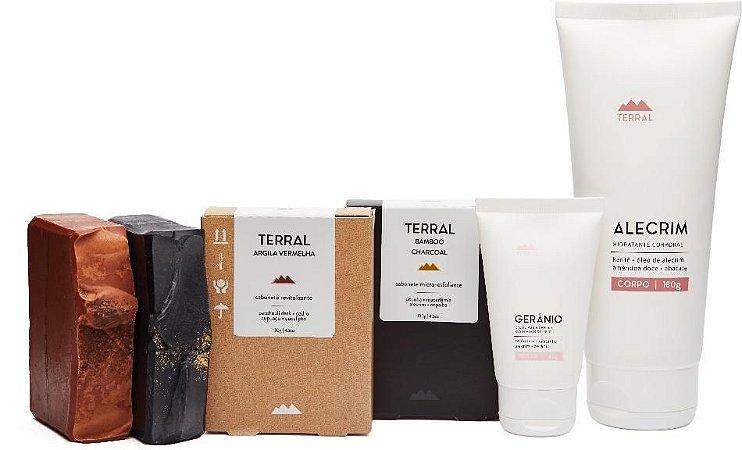 Terral Natural Kit Pele Mista - Creme Corporal Alecrim + Creme Facial Gerânio + Sabonetes de Argila Vermelha e de Carvão Ativado