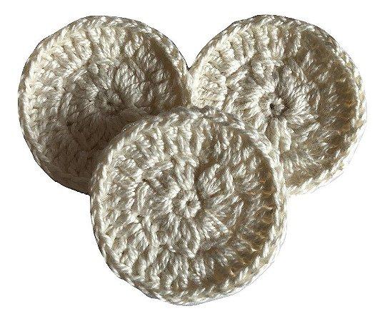 Eco Pads Discos de Crochê (Algodão) Reutilizáveis - Cor Natural 3 un