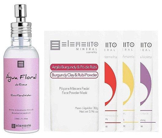 Elemento Mineral Kit Rosas com Água Floral e Bio Argilas