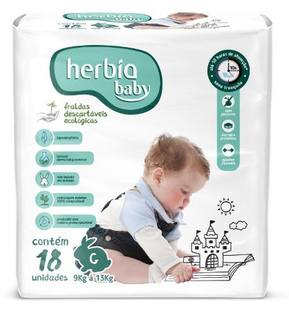 Herbia Baby Fralda Ecológica Descartável G com 18 un