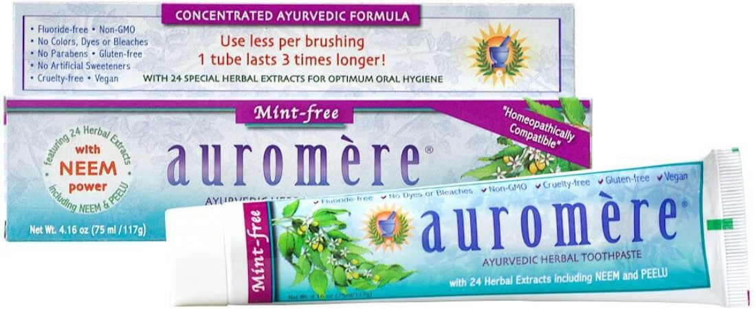 Auromere Creme Dental Ayurvédico Mint-Free - Alcaçuz, Cravo e Gerânio 117g