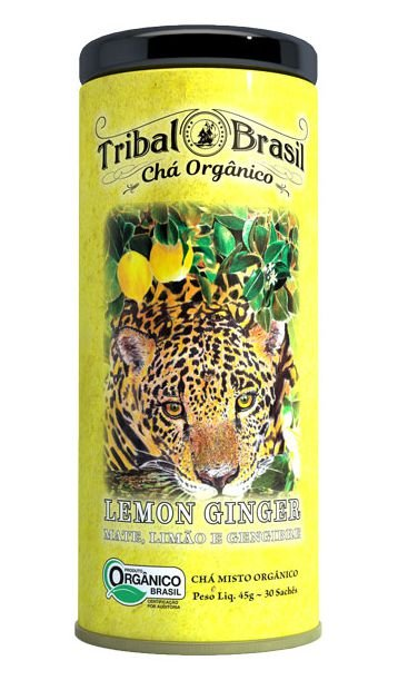 Tribal Brasil Chá de Erva Mate Lemon Ginger Orgânico Lata 30 Sachês