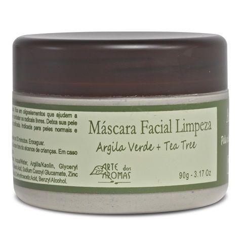 Arte dos Aromas Máscara Facial de Limpeza Argila Verde e Tea Tree 90g