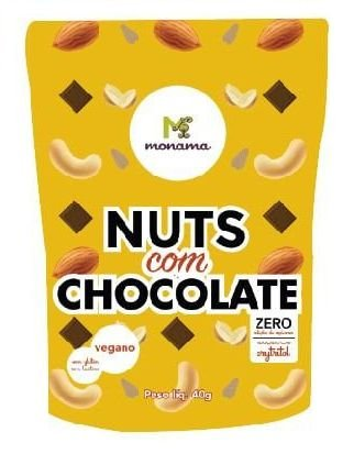 Monama Snack Nuts com Chocolate 80% Cacau Zero Açúcar 40g