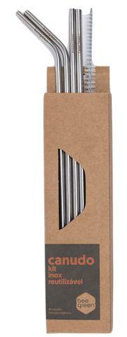 Beegreen Kit Misto 4 Canudos Reutilizáveis de Inox (2 Retos e 2 Curvados) + Escova de Limpeza