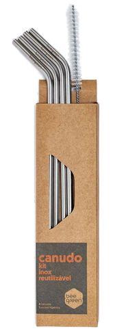Beegreen Kit 4 Canudos Reutilizáveis de Inox Curvados + Escova de Limpeza