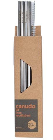 Beegreen Kit 4 Canudos Reutilizáveis de Inox Retos + Escova de Limpeza