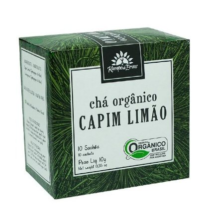 Kampo de Ervas Chá de Capim Limão Orgânico Caixa 10 Sachês