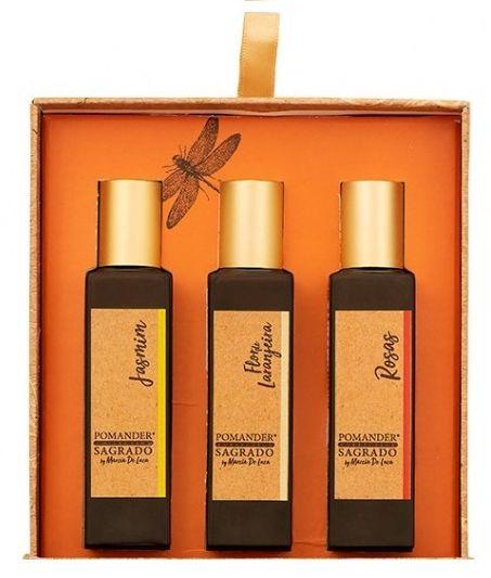 Pomander Sagrado Kit com 3 Perfumes Naturais - Rosas, Flor de Laranjeira e Jasmim